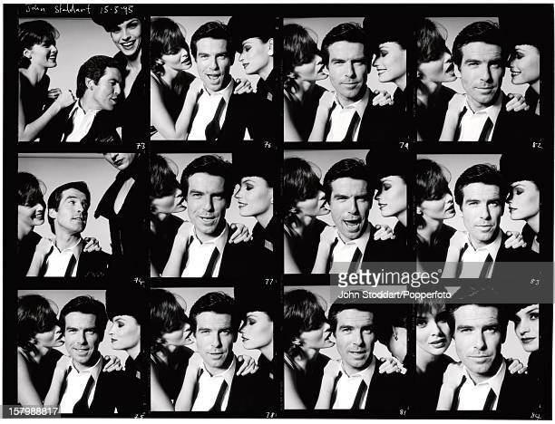 Irish actor Pierce Brosnan as James Bond with his 'GoldenEye' costars Famke Janssen and Izabella Scorupco 15th May 1995