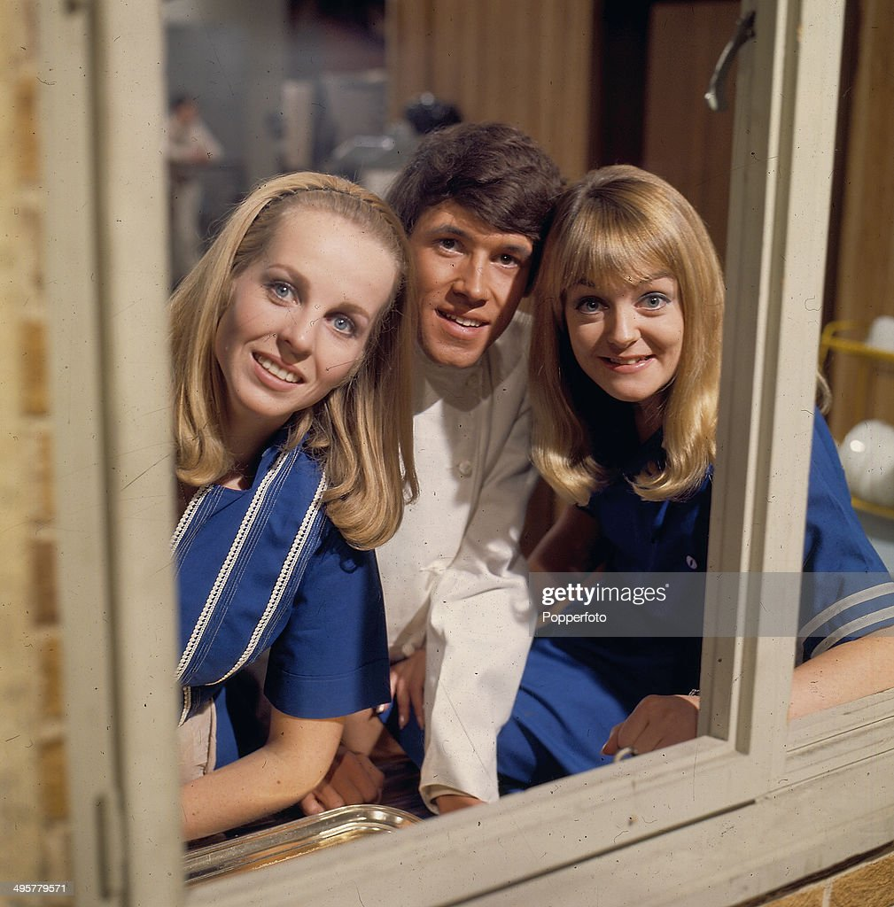 Irish actor Stephen Rea pictured with actresses Susan Hanson and Colette Gleeson on the set of the television soap opera 'Crossroads' in 1968