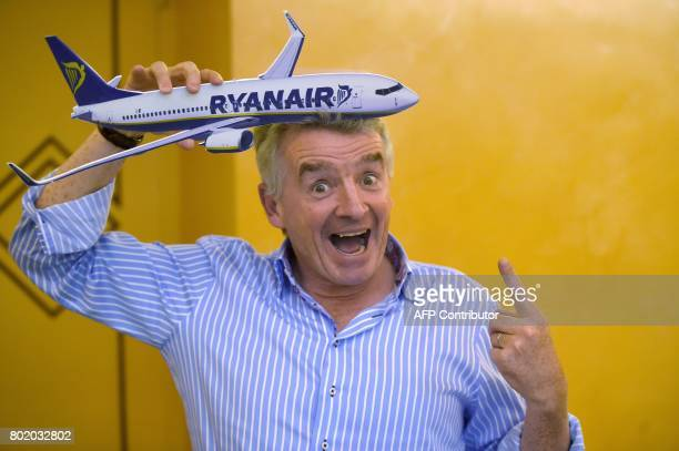 Irish airline Ryanair's CEO Michael O'Leary poses during a press conference on June 27 2017 in Rome Lowcost giant Ryanair is ready to make a bid for...