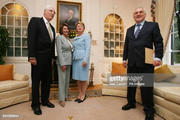 Irish ambassador Michael Collins his wife Marie Congress House Speaker Nancy Pelosi and Taoiseach Bertie Ahern at a reception at the Irish...