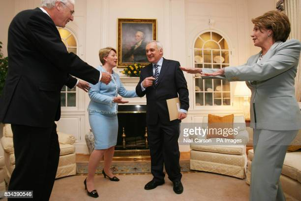 Irish Ambassador Michael Collins his wife Marie Taoiseach Bertie Ahern and Congress House Speaker Nancy Pelosi pictured at the Irish ambassador's...