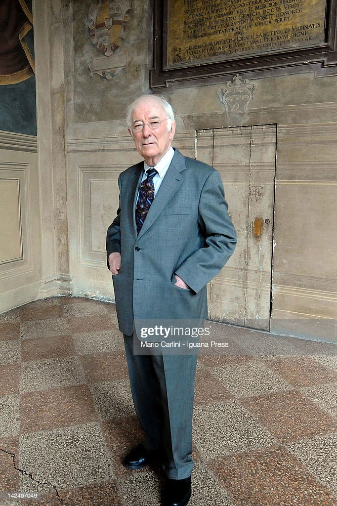 Irish author Seamus Heaney, recipient of 1995 Nobel prize for Literature, attends the celebrations about centenary of italian author Giovanni Pascoli for University of Bologna at Archiginnasio on April 3, 2012 in Bologna, Italy.
