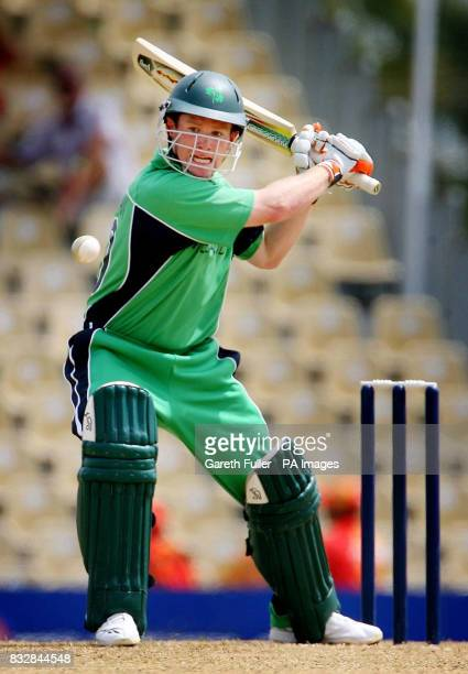 Irish batsman Eoin Morgan in action during their warmup game against Canada at St Augustine Trinidad