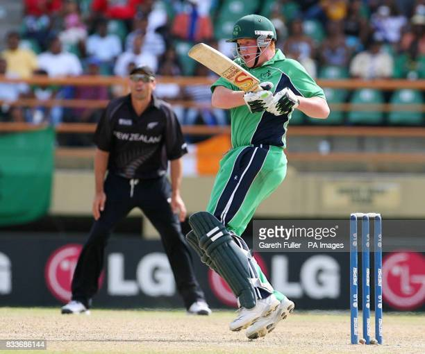 Irish batsman Kevin O'Brien in action against New Zealand during the ICC Cricket World Cup Super Eight match at the National Stadium Georgetown Guyana