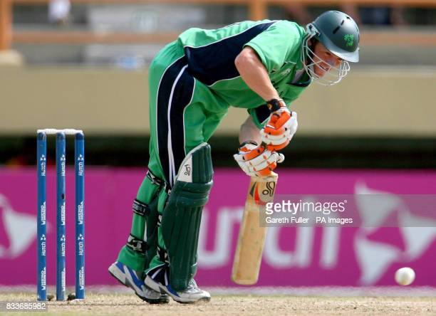 Irish batsman Niall O'Brien in action against New Zealand during the ICC Cricket World Cup Super Eight match at the National Stadium Georgetown Guyana