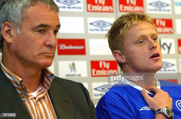 Irish born footballer Damien Duff answers questions during a press conference 01 August 2003 at Stamford Bridge Arena in London as Chelsea Football...