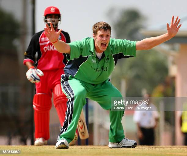 Irish Bowler Boyd Rankin appeals successfully for the wicket Canada's Asish Bagai at St Augustine Trinidad