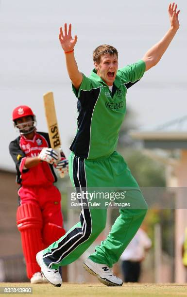 Irish Bowler Boyd Rankin appeals successfully for the wicket of Canada's Ashish Bagai at St Augustine Trinidad