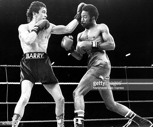 Irish boxer Barry McGuigan catches Panamanian Eusebio Pedroza with a left in the 6th round McGuigan won