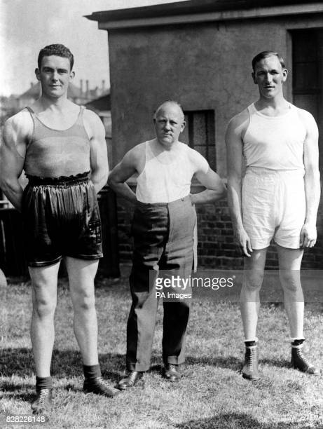 Irish boxer Jack Doyle trainer Frank Duffett and British boxer and sparring partner Charlie Smith