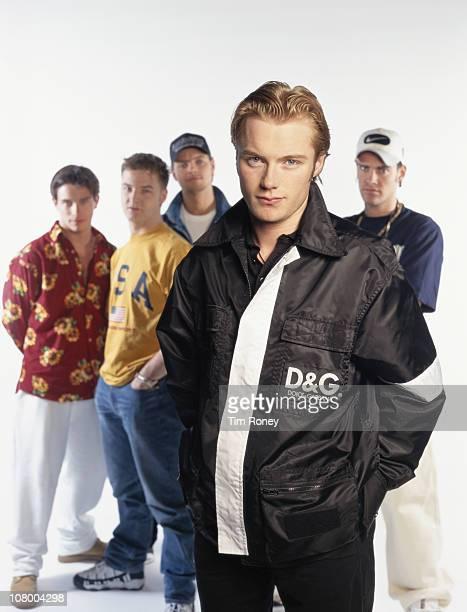 Irish boy band Boyzone 1996 They are Mikey Graham Keith Duffy Ronan Keating Stephen Gately and Shane Lynch