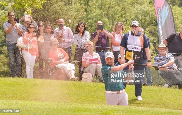 Irish Captain Keith Duffy plays out of a sand trap on Day one of the Celebrity Cup at Celtic Manor Resort at Celtic Manor Resort on July 1 2017 in...