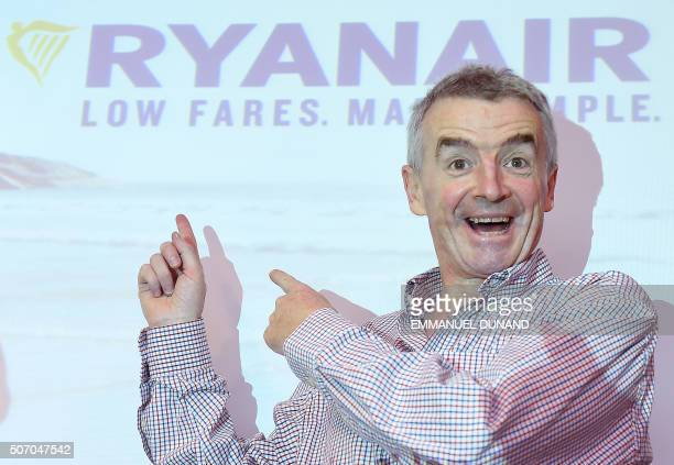 Irish chief executive officer of Ryanair Michael O'Leary poses prior to give a press conference in Brussels on January 27 2016 Michael O'Leary...