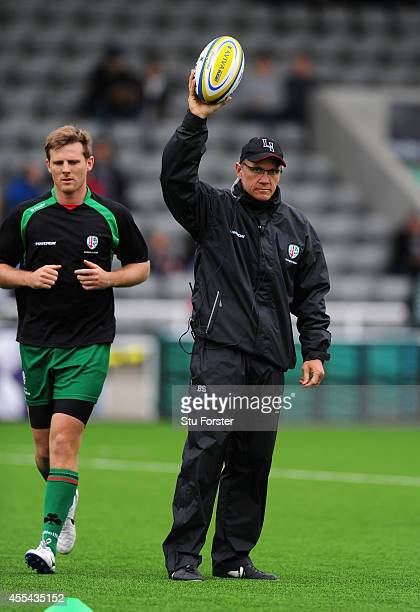 Irish coach Brian Smith gets his players attention before the Aviva Premiership match between Newcastle Falcons and London Irish at Kingston Park on...