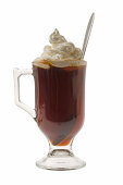 Irish Coffee mixed drink on white background
