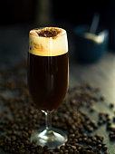 Home made Irish coffee,normal coffee add whisky and cream,coco powder.