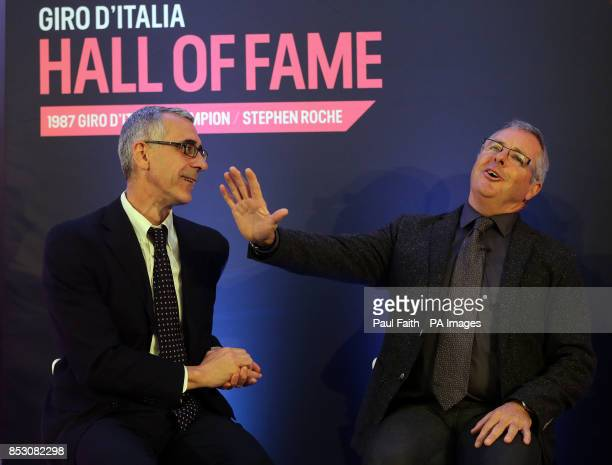 Irish Cyclist Stephen Roche with Pier Bergonzi at Bushmills Causeway hotel in Co Antrim as Roche becomes a member of the Giro D'Italia organisers'...