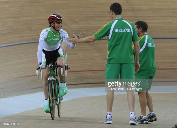 Irish cyclists David Peelo and Michael Delaney after competiting in the Mens Sprint BVI in the Laoshan Velodrome at the Beijing Paralympic Games 2008...