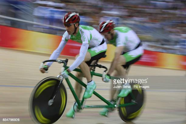 Irish cyclists David Peelo and Michael Delaney competiting in the Mens Sprint BVI in the Laoshan Velodrome at the Beijing Paralympic Games 2008 China