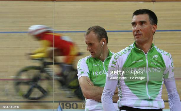 Irish cyclists David Peelo and Michael Delaney waiting to compete in the Mens Sprint BVI in the Laoshan Velodrome at the Beijing Paralympic Games...
