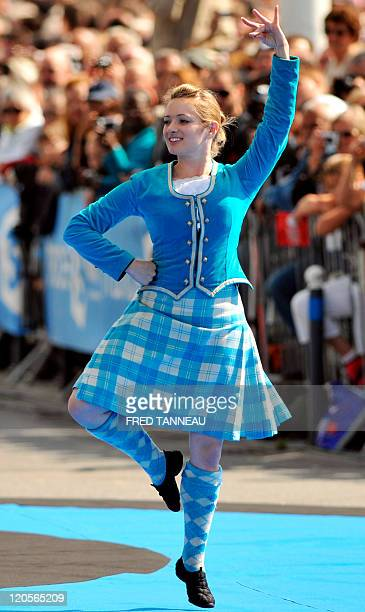 Irish dancer performs on August 7 2011 in Lorient during the celtics nations Great Parade of the 'festival interceltique de Lorient' It is the 41st...