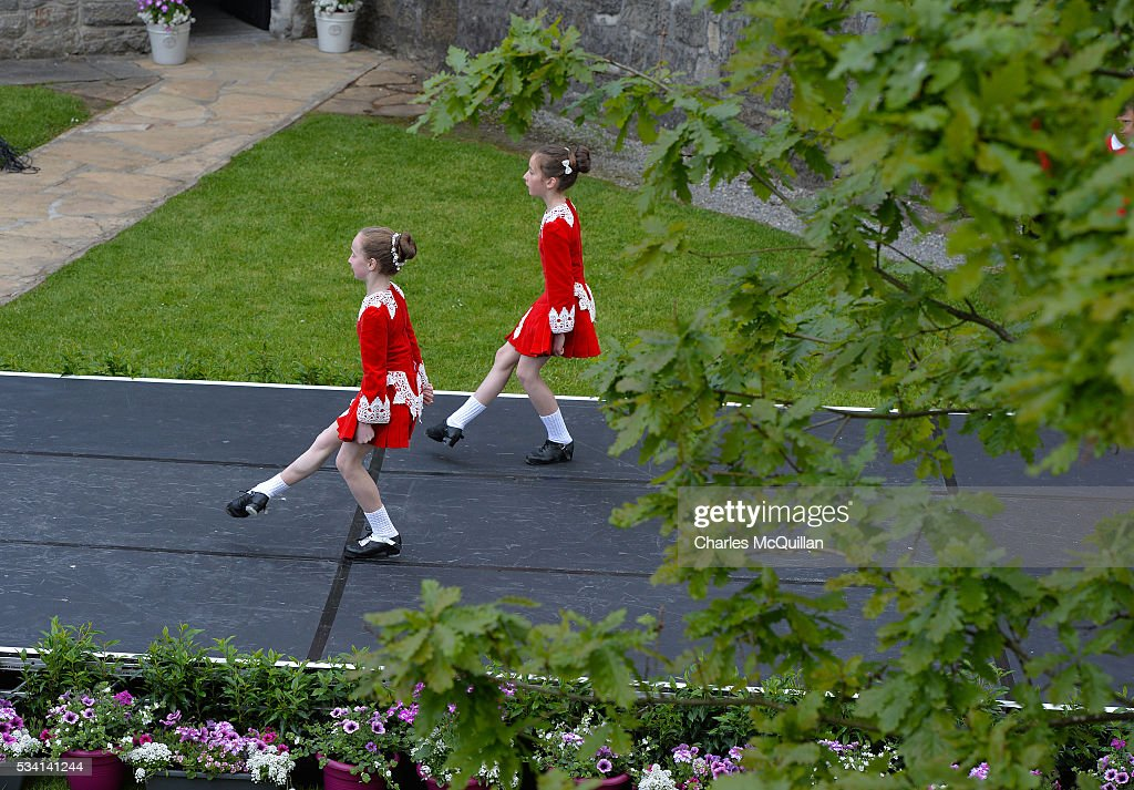 Irish dancers due to perform for for Prince Charles, Prince of Wales and Camilla, Duchess of Cornwall practice their routine before Prince Charles' and Camillas visit to Donegal Castle on May 25, 2016 in Letterkenny, Ireland. The royal couple are on a one day visit to Ireland having spent two days across the border in Northern Ireland. It is their first trip to Donegal.