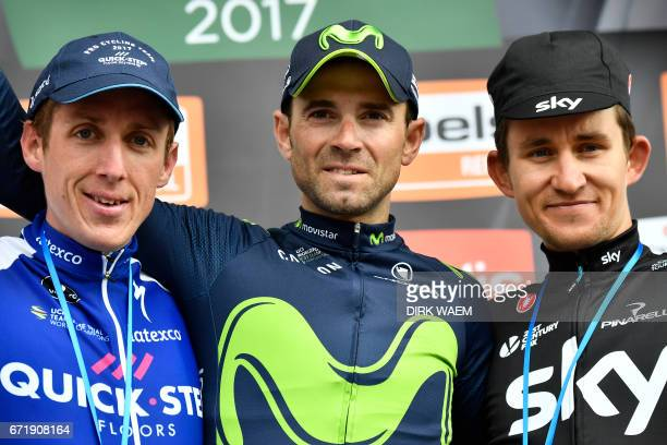 Irish Daniel Martin of QuickStep Floors 2nd placed winner Spanish Alejandro Valverde of Movistar Team and 3rd placed Polish Michal Kwiatkowski of...