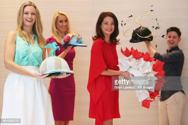 Irish designers Keira Kennedy of KDK Scarves Lucy Nagle Martha Lynn and Mark T Burke at the official launch of The Irish Derby Helmet Installation at...