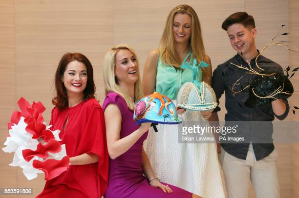 Irish designers Martha Lynn Lucy Nagle Keira Kennedy of KDK Scarves and Mark T Burke at the official launch of The Irish Derby Helmet Installation at...