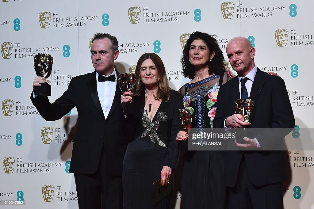 Irish director John Crowley, New Zealand producer Finola Dwyer, British producer Amanda Posey and British author and screenwriter Nick Hornby pose with their awards for an outstanding British film for 'Brooklyn' at the BAFTA British Academy Film Awards at the Royal Opera House in London on February 14, 2016. AFP / BEN STANSALL / AFP / BEN STANSALL