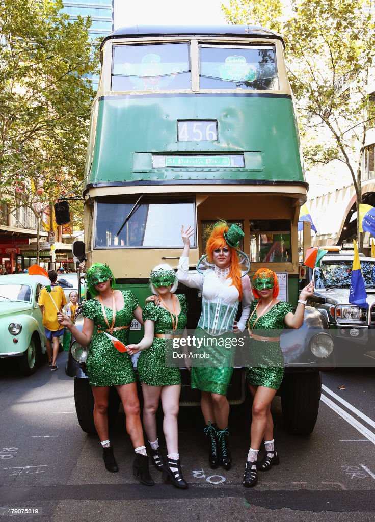 Irish Drag Queen Peachy Queen ( 2nd from right) poses alongside supporters and prepares to march in the St Patrick's day parade on behalf of all gay, lesbian, bisexual and transgender people for the first time on March 16, 2014 in Sydney, Australia. St Patricks Day is an annual religious and cultural commemoration of the widely recognised patron saint of Ireland, Saint Patrick. March 17th, is a public holiday in Northern Ireland and the Republic of Ireland but is celebrated in many countries around the world where Irish diaspora have settled.