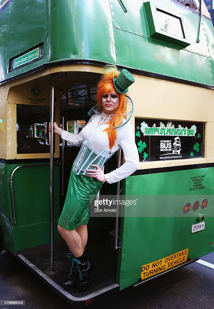 Irish Drag Queen Peachy Queen poses from the back of a bus, and prepares to march in the St Patrick's day parade on behalf of all gay, lesbian, bisexual and transgender people for the first time on March 16, 2014 in Sydney, Australia. St Patricks Day is an annual religious and cultural commemoration of the widely recognised patron saint of Ireland, Saint Patrick. March 17th, is a public holiday in Northern Ireland and the Republic of Ireland but is celebrated in many countries around the world where Irish diaspora have settled.