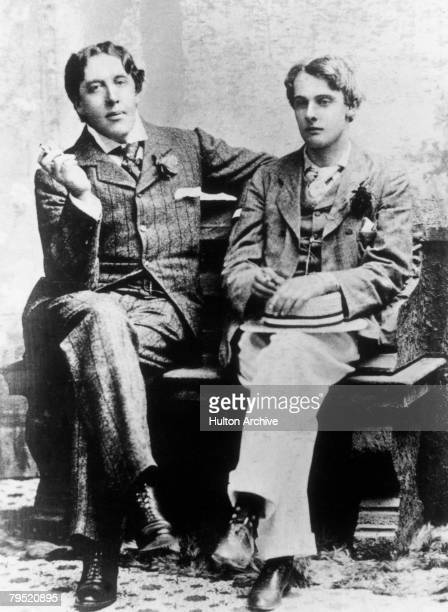 Irish dramatist Oscar Wilde with Lord Alfred Douglas at Oxford 1893