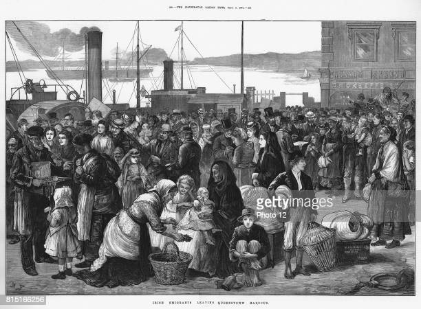 Irish emigrants leaving Queenstown the port for Cork for the United States 1874 Some a buying lastminute trinkets and good luck tokens Mixture of...
