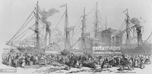 Irish emmigrants leaving for Liverpool on board the paddle steamers Nimrod and Athlone during the Great Famine Ireland 1851 Original publication...