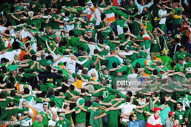 Irish fans celebrate during the UEFA EURO 2012 group C between Ireland and Croatia at The Municipal Stadium on June 10 2012 in Poznan Poland