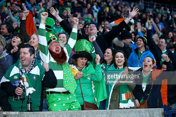 Irish fans react as they watch the England v France game on the big screens after the RBS Six Nations match between Scotland and Ireland at...