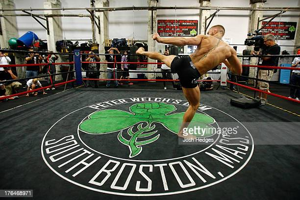 Irish featherweight Conor McGregor holds an open training session for media at Peter Welch's Boxing Gym on August 13 2013 in Boston Massachusetts