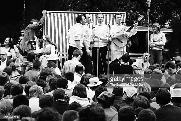 Irish folk singing group The Clancy Brothers and Tommy Makem perform at the Newport Folk Festival in July 1964 in Newport Rhode Island