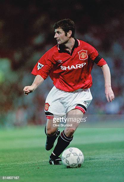 Irish footballer Denis Irwin playing for Manchester United against West Ham in an English Premier League match at Old Trafford Manchester 23rd August...