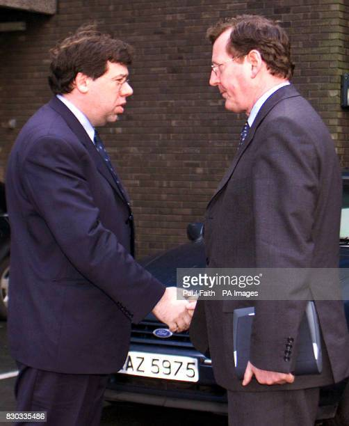 Irish foreign minister Brian Cowan meets Ulster Unionist Leader David Trimble as he arrives at Castle buildings Belfast for a meeting with British...