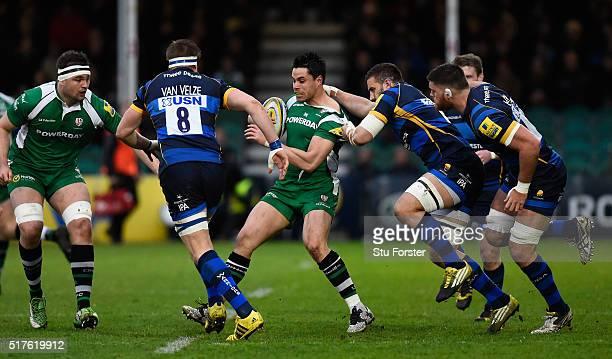 Irish fullback Sean Maitland is hauled back by Carl Kirwan of Worcester during the Aviva Premiership match between Worcester Warriors and London...