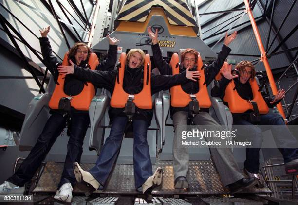Irish girl pop band Bewitched before braving the new Apocalypse free fall ride at its launch at Drayton Manor Park in Staffordshire LR Lindsay Armaou...