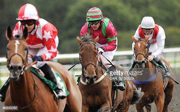 Irish jockey Kieren Fallon is pictured as he crosses the finish line in second place in the Withyham Median Auction Maiden Stakes race at Lingfield...