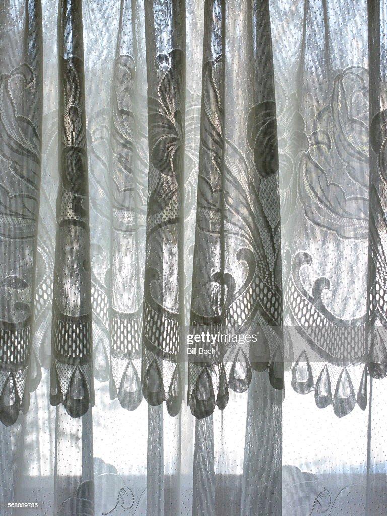irish lace curtain in a window