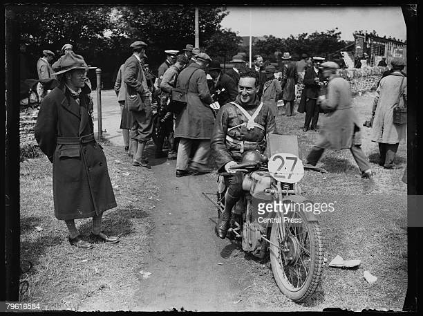 Irish motorcycle champion Stanley Woods on the Norton motorcycle on which he won the Isle of Man TT Race numerous times 1928