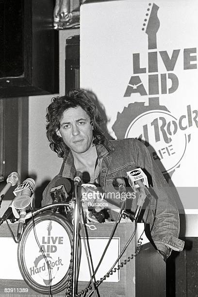 Bob Geldof speaks at the Live Aid press conference at the Hard Rock Cafe in 1985 in New York City