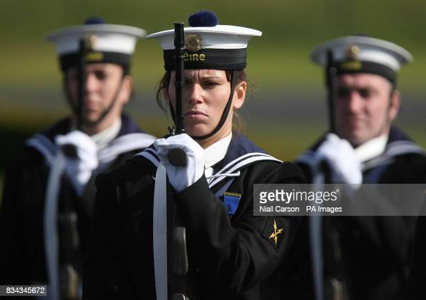 Irish Naval personnel form a guard of honour for the President of Estonia Toomas Hendrik Ilves at Aras an Uachtarain as he begins a threeday State...