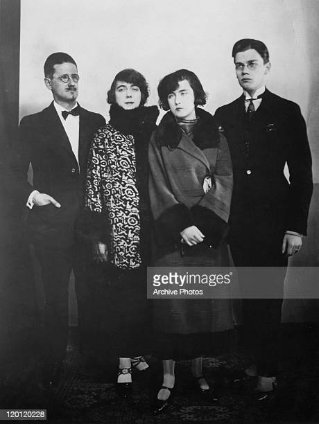 Irish novelist and poet James Joyce with his family Paris 1924 Left to right Joyce his partner and future wife Nora Barnacle and their children Lucia...