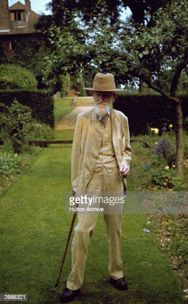 Irish playwright George Bernard Shaw in the garden of his country home in Ayot St Lawrence Hertfordshire